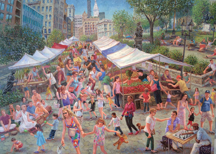 "John Parks. Union Square, 2013. Oil on Linen 30"" x 42"""