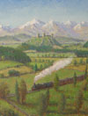 """Train with Castle""  2007 John A. Parks Oil/Canvas 16"" x 10"""
